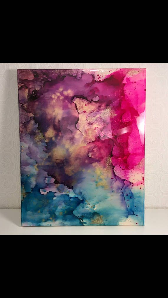 Universo de galaxia espacio original lona cielo nublado pintura abstracta azul rosa púrpura resina oro retrato paisaje nubes