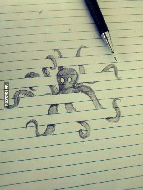 Caught in the paper. Optical illusion sketch. Ft. Octopus.