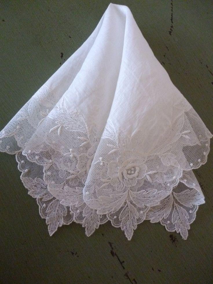 Vintage Handkerchiefs | Beautiful Vintage Lace Wedding Handkerchief by PamelaMurphyVintage