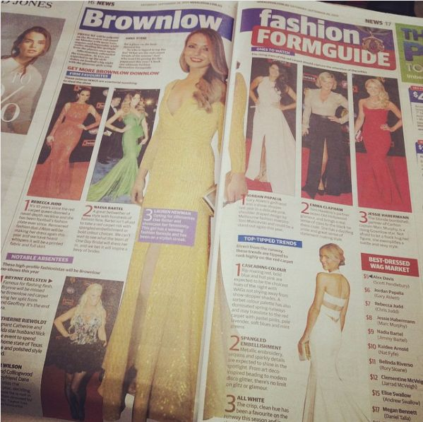 Lauren Newman in The Herald Sun wearing Amaline Vitale for The Brownlow's
