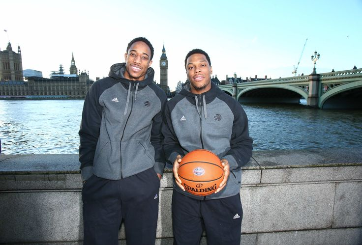 Toronto Raptors DeMar DeRozan and Kyle Lowry in London, England for a regular season match against the Orlando Magic