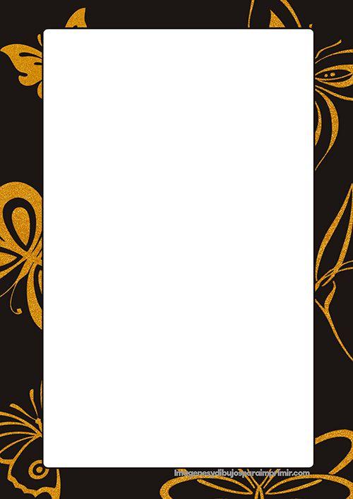 Hojas decoradas con mariposas con varios fondos de colores listas para imprimir y escribir