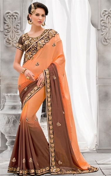 Bewitching Apricot and Brown Wedding Saree