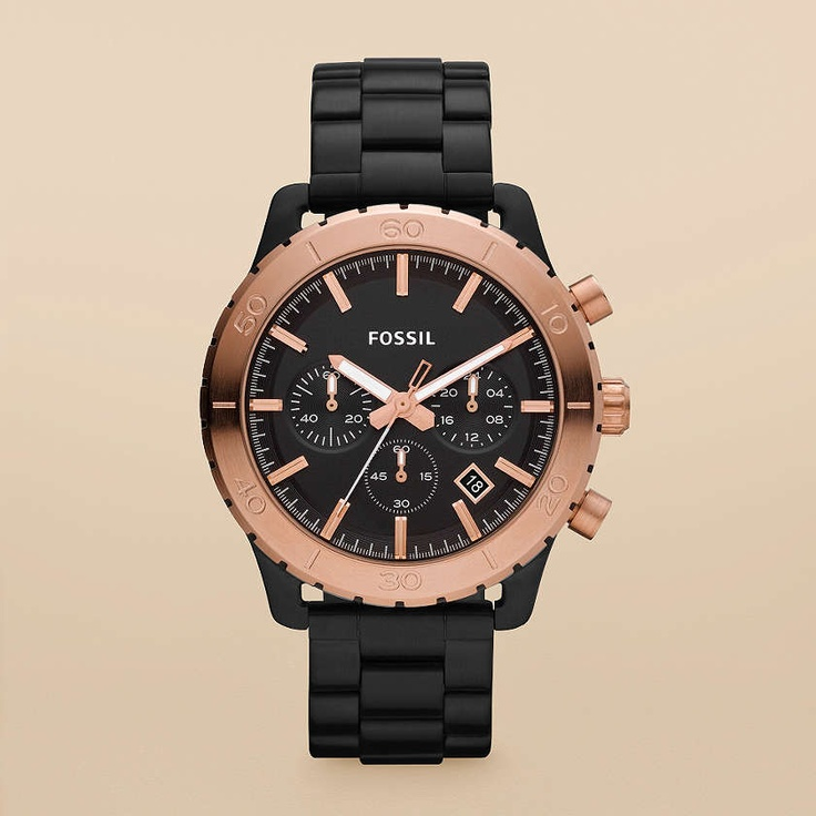 FOSSIL® Features Black & Rose Watches:Men Keaton Stainless Steel Watch – Black with Rose CH2817