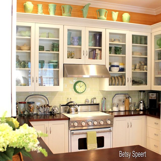 Betsey Speert Kitchen - show off those collections and love the glass cabinets