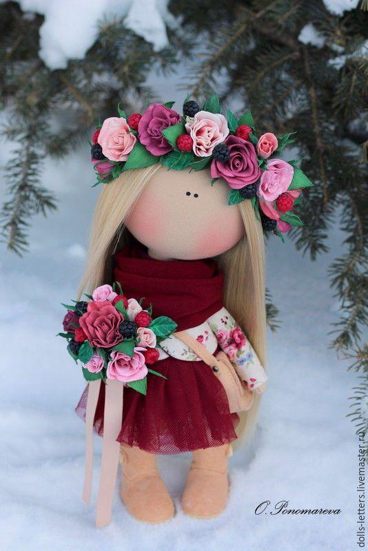 Купить Текстильная кукла ! - бордовый, интерьерная кукла, авторская ручная…