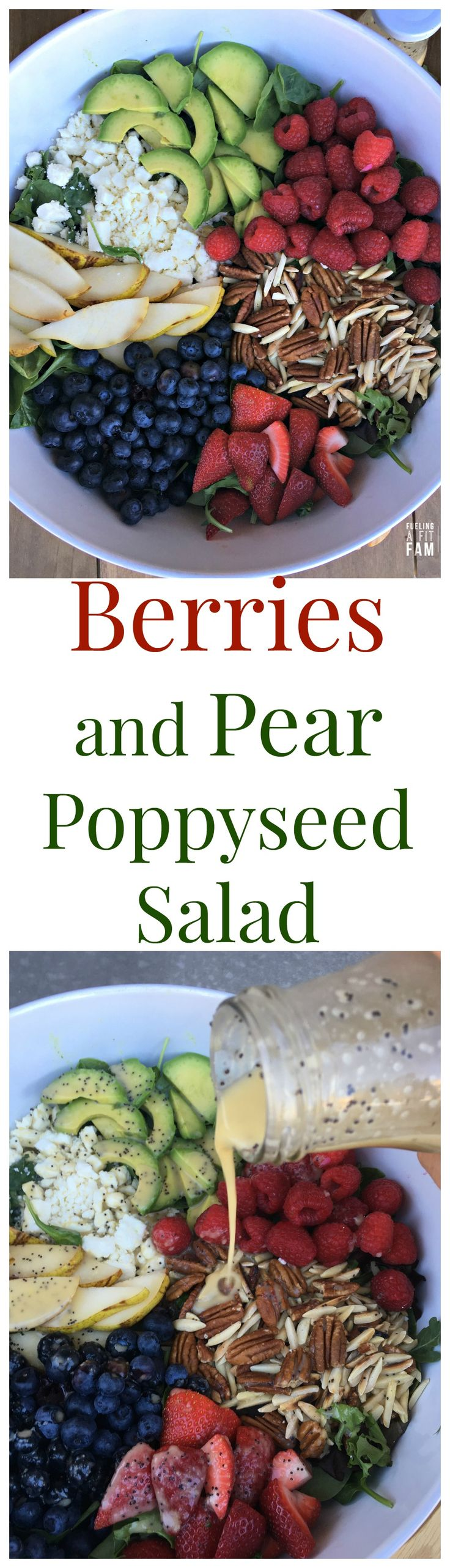 This Berries and Pear Poppyseed Salad is the perfect summer salad. The ...