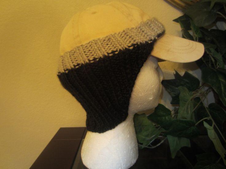 Black And Gray Hand-Knit Baseball Cap Ear Warmers by VioletsKnitwear on Etsy https://www.etsy.com/listing/264831713/black-and-gray-hand-knit-baseball-cap