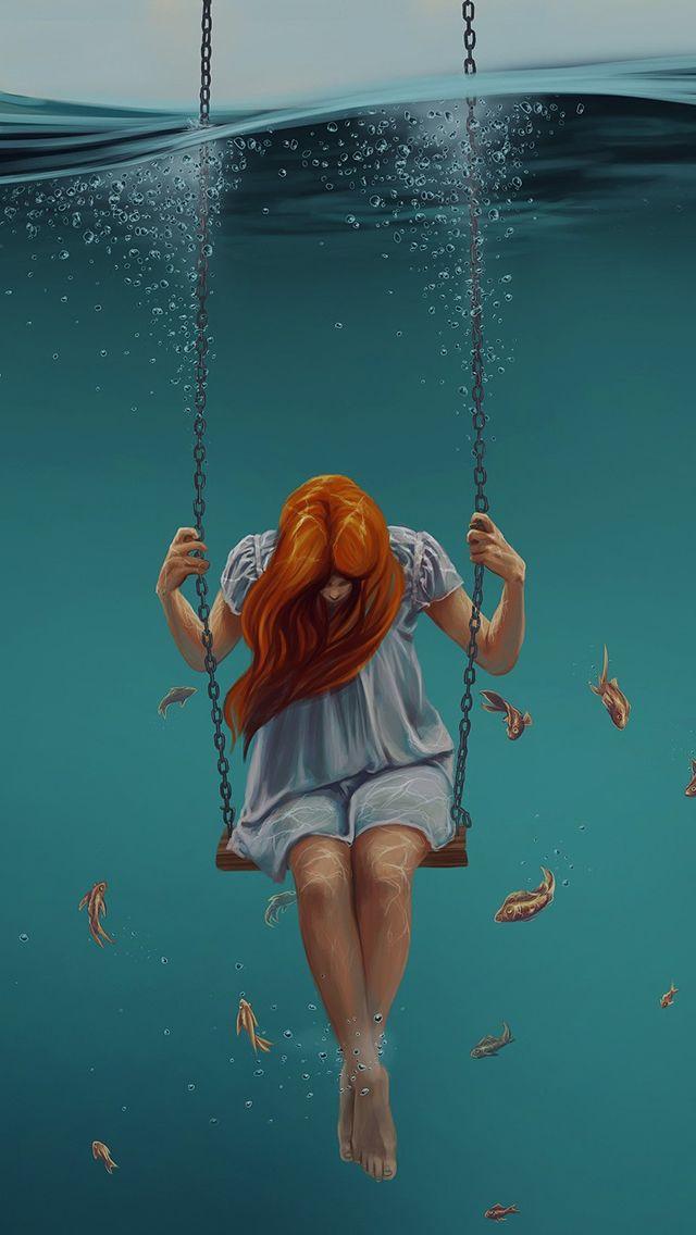Swing Art Painting Girl Dark #iPhone #5s #wallpaper