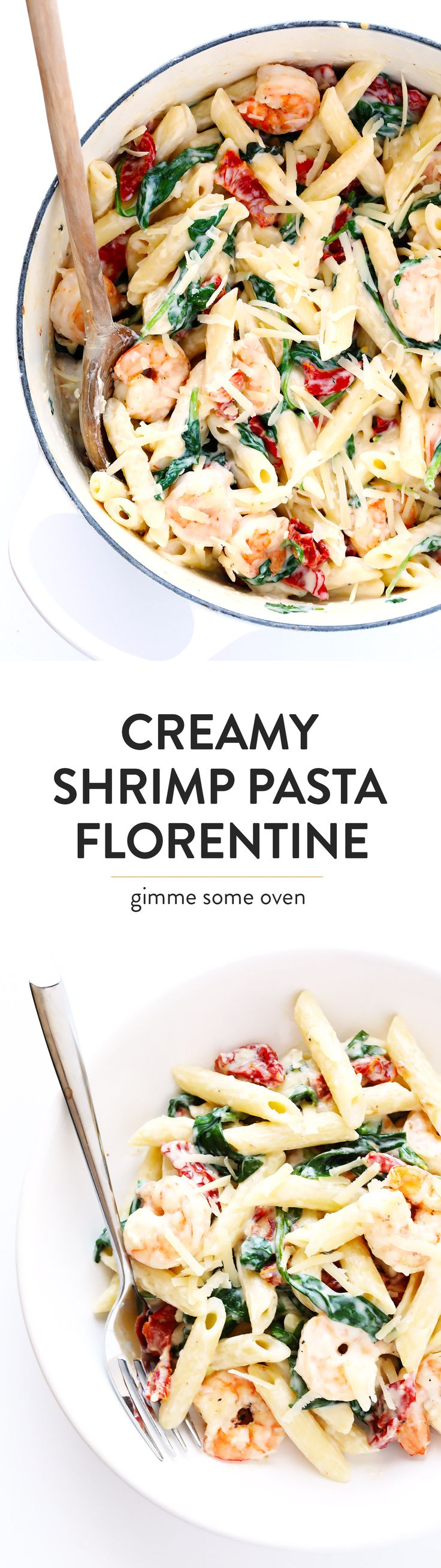 This AMAZING Creamy Shrimp Florentine Pasta recipe is quick and easy to make, it's loaded up with sun-dried tomatoes and spinach and basil and shrimp, and tossed in a heavenly creamy garlic sauce.  A delicious and comforting dinner!! | gimmesomeoven.com