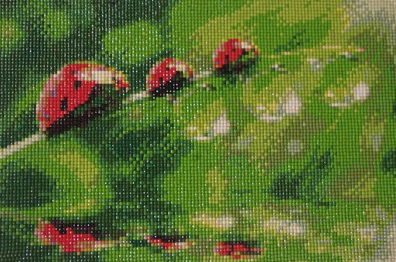 Ladybird Diamond Painting Finished Completed Wall Decor Embroidery Cross Stitch Rhinestone Needlework Mosaic