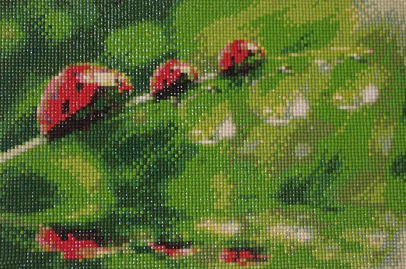 Ladybird Diamond Painting Finished Completed Wall Decor Embroidery Cross Stitch Rhinestone Needlework Mosaic