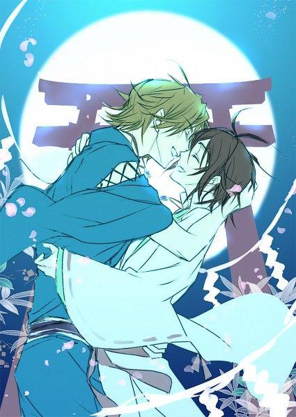 Satoru Asahina and Shun Aonuma in their crushy boyfriends phase. From Shinsekai Yori, the anime.