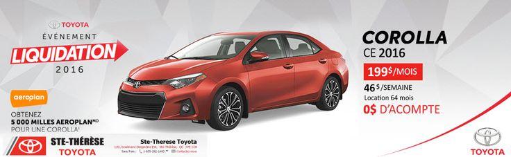 2016 COROLLA CE 4A Entrez-voir Nos Spéciaux! Toyota en promotion Événements Liquidation 2016 Toyota www.stetheresetoyota.com Modèles: Yaris Hayon, Yaris, Corolla, RAV4, Venza, Highlander, Sienna, Tacoma, Tundra Types: VUS, Autos, Hybride, Camions, Mini-Fourgonnettes Véhicules d'occasion https://www.stetheresetoyota.com/neufs/Toyota-Corolla-2016.html