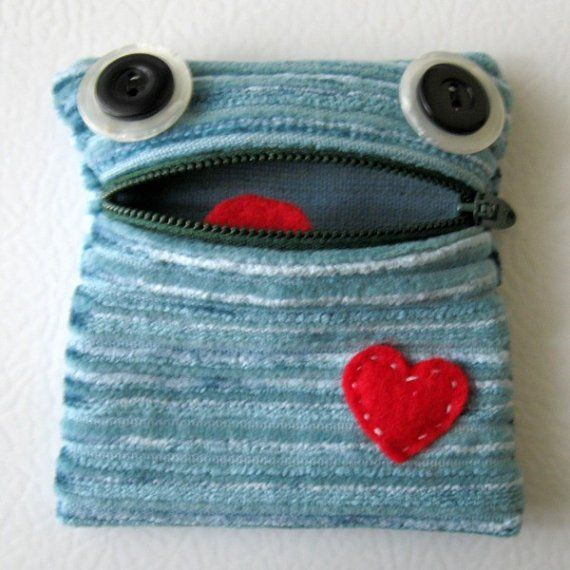 This little monster will adore you no matter what, just look at the sweet expression on his face! I made this guy out of a recycled upholstery swatch. He