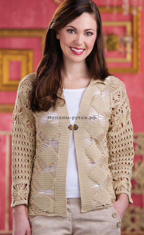 Вязаный крючком кардиган Macramé (crochet cardigan macrame)