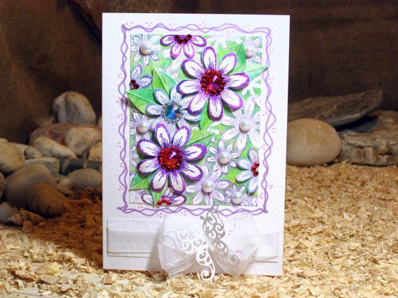8x6 Daisy Greeting Card Purple Lilac Green Rubber by 4SeasonCards