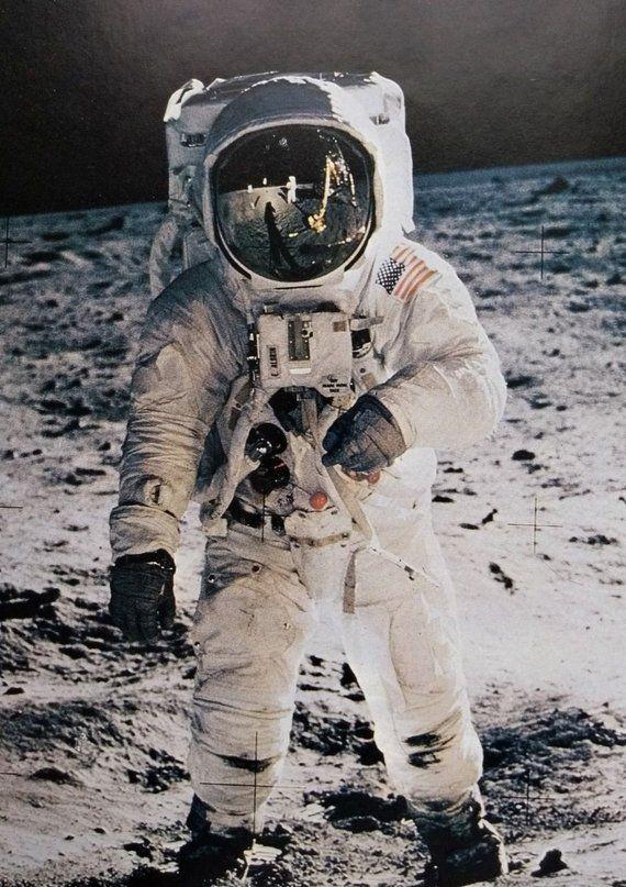 Vintage Apollo 11 Moon Poster Print Buzz Aldrin Neil