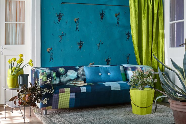 ARTEFLY Ikea Klippan cover PIXEL - interior styling / rich colors, pixelated floral ornament fabric print