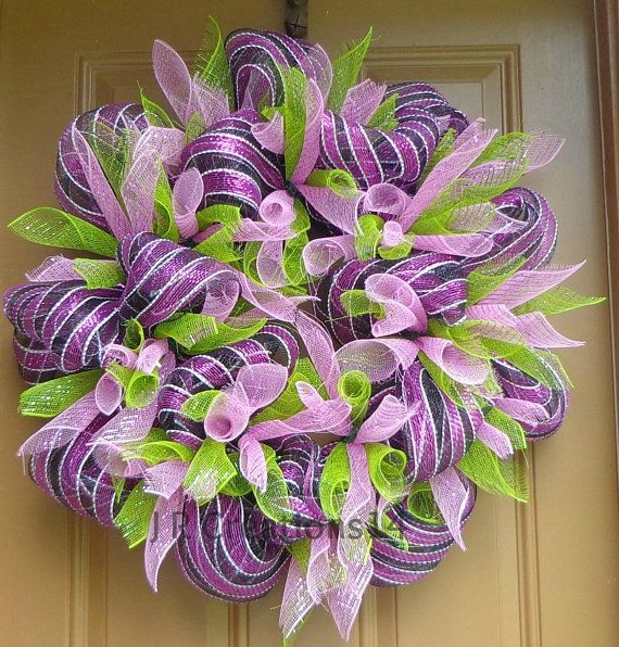 "Striped Mesh Wreath, Magenta, Black, White, Mesh Pink Flowers and Green Leaves, Mesh Door Wreath, Home Decor, Deco Mesh Wreath, 27"" Wx8.5"" D"