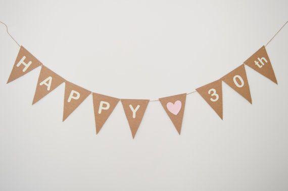 Happy 30th Birthday Banner, Thirty Birthday Bunting, Custom Birthday, Party Decoration, 40th, 50th, 60th
