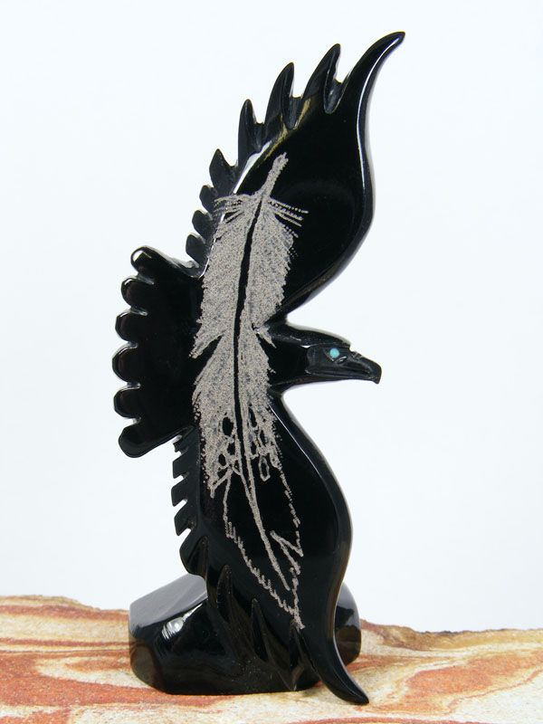 Hiram Peynetsa Black Marble Eagle Zuni Fetish From Www