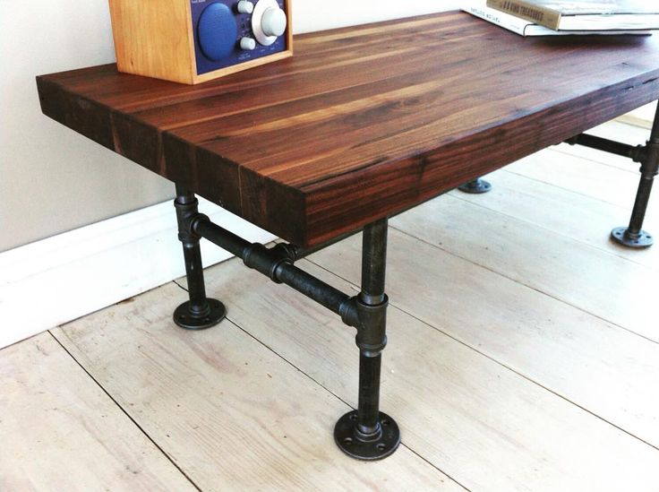 Walnut Coffee Table, Modern Industrial Style Featuring Butcher Block Top  And Steel Pipe Legs, 20 X