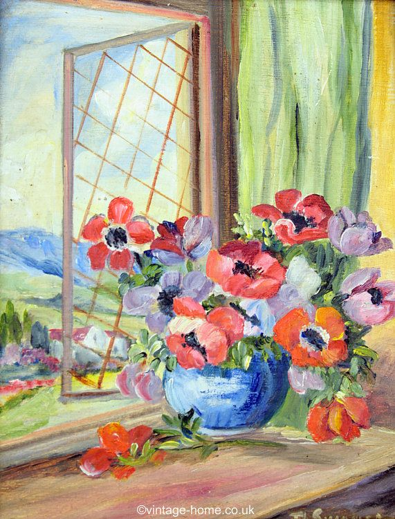 Vintage Home Shop - Pretty 1930s Oil Painting of Anemones in a Blue Bowl: www.vintage-home.co.uk