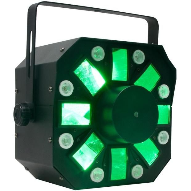 Specifications- High Output 3 FX in 1: Moonflower, Strobe and Laser effect with 6 x 5W (RGBWYP) HEX LED's + 8 x 3W White LED's + Red & Green Lasers technology produces color-changing beams of light- Dozens of razor sharp beams fill a dance floor, ceiling or wall- Using a 1.8 Degree Long Life Stepper motor Technology it can produce quick accurate movement or smooth fluid move movements for mood music- 10 DMX Channels- 3 Operation modes: Sound Active, Master/Slave or DMX Controllable- ...