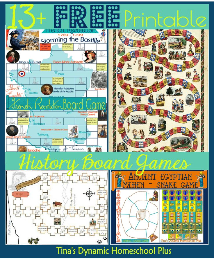 13 Free Printable History Board Games round-up at Tina's Dynamic Homeschool Plus.