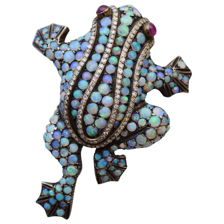 Colorful Opal Diamond Frog Brooch | From a unique collection of vintage brooches at https://www.1stdibs.com/jewelry/brooches/brooches/