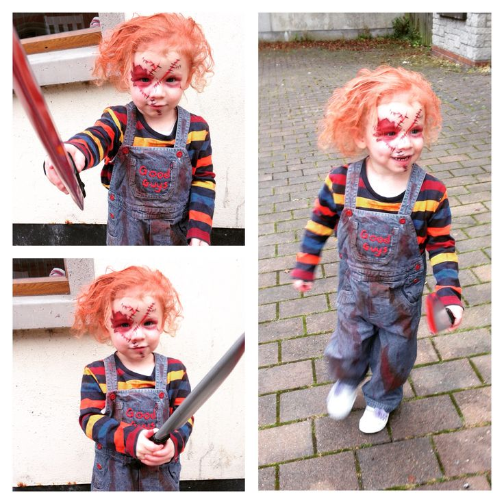 """My youngest daughter as """"Chucky"""" for Halloween. Make up n outfit by me"""