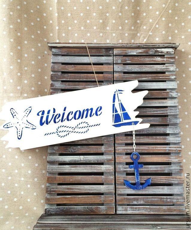 Купить Welcome декоративная табличка вывеска в морском стиле - белый, синий, морская тема