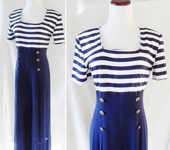 1930s Style. Nautical Jumpsuit. Vintage. Medium
