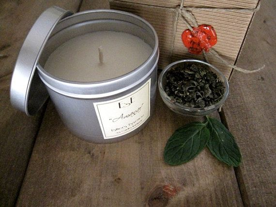"""Soy Candle, Green tea Mint, """"Amanar"""" 6oz, Tin candle, Scented Candle, Favor, Home Decor, Natural Scent, Favors, Luxury candle, Wedding"""