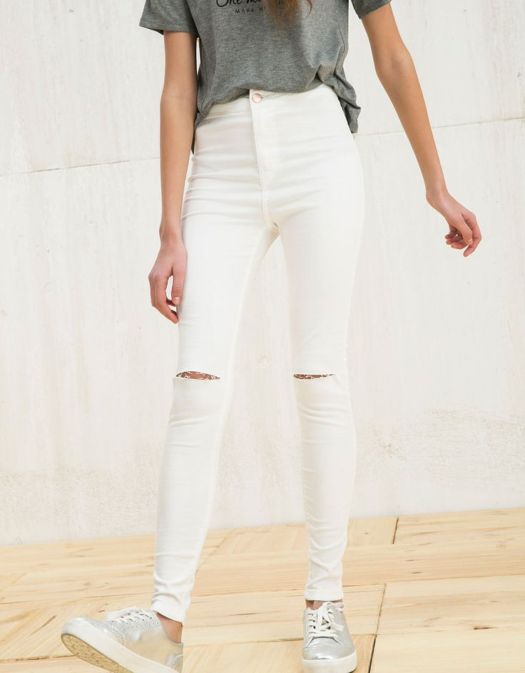 BSK basic high waist jeggings - Trousers - Bershka Germany