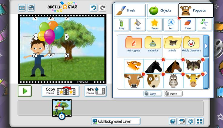Superb Storytelling Tool: Sketch Star Easily create online animations with this fab tool for kids! Tell stories using text, objects, puppets, and your own drawings. Lots of neat tools to choose from.Tutorials are great and get you going on your first animation right away.