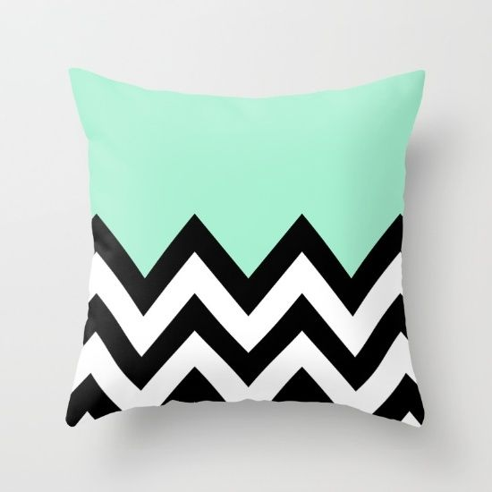 MINT GREEN COLORBLOCK CHEVRON Throw Pillow by Natalie Sales. Worldwide shipping available at Society6.com. Just one of millions of high quality products available.