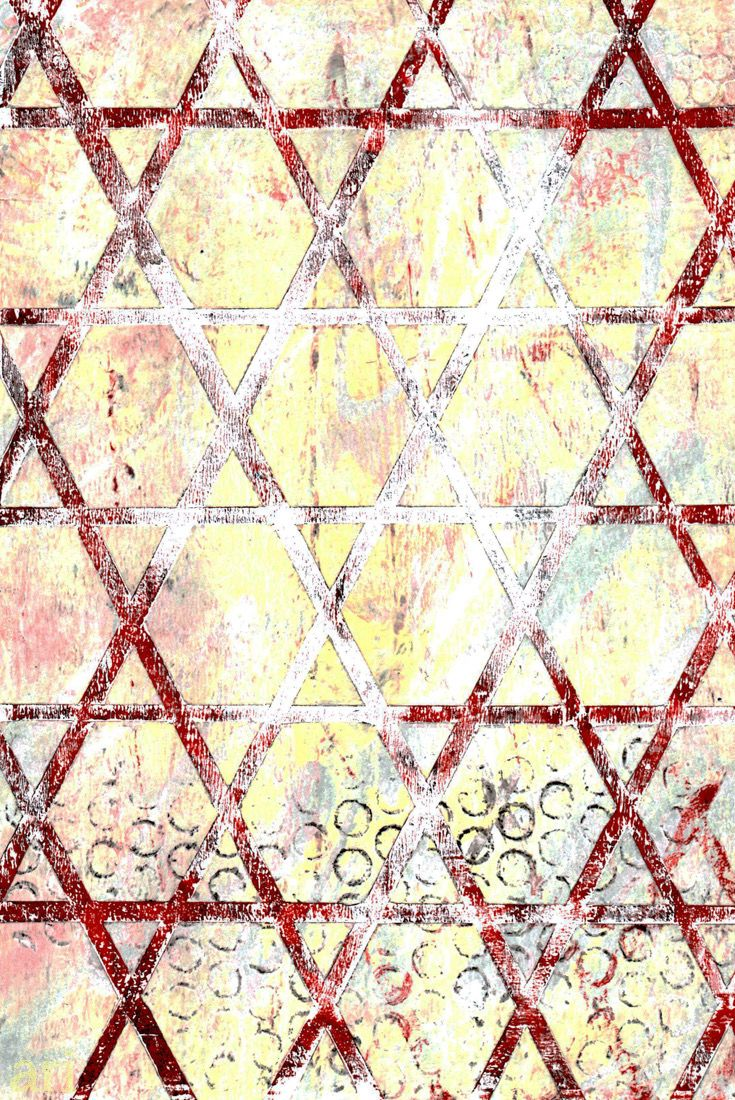 I used my hand cut stencil for this red and white gelli print. Love the worn look of the lattice