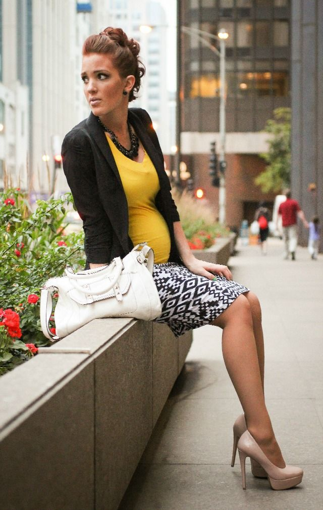 Great professional maternity outfit. Yellow and black. Could also go magenta, green or blue with the top and keep the rest....