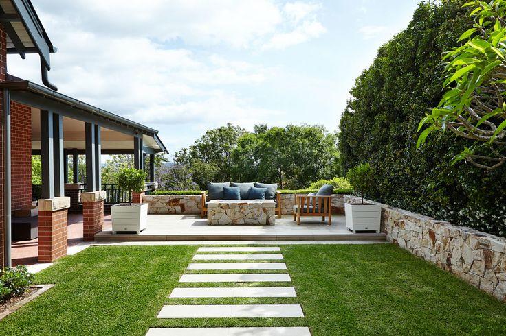 Sandstone stepping stones in lawn - Outdoor Establishments