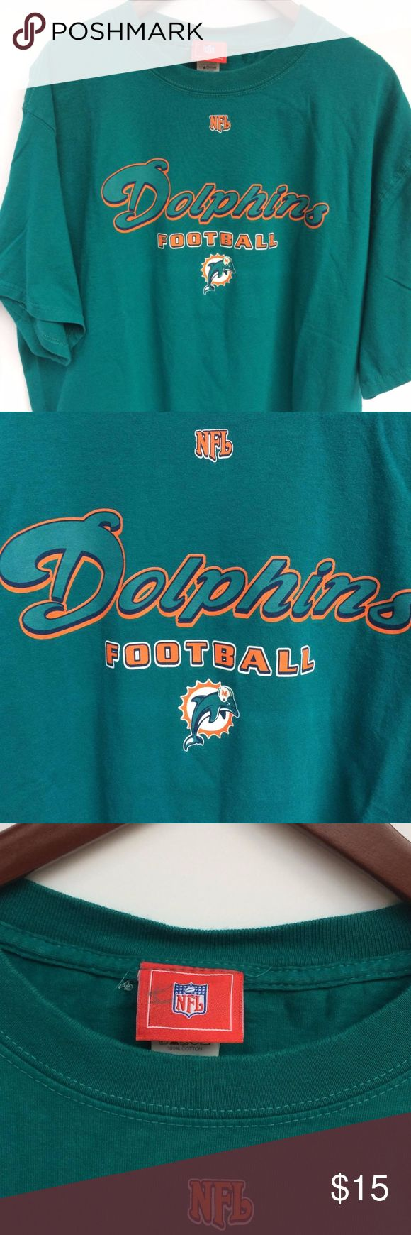 NFL Miami Dolphins Men's Turquoise T-shirt This NFL Miami Dolphins T-shirt is a must have for any Dolphins fan or any football fan to have. This shirt is authentic NFL which ensures you this is a quality T-shirt that you can enjoy for a long time with no worries. This shirt is easily paired with any pants or shorts you might already have. The simplicity of this shirt is what makes it so easy to wear when ever where ever. NFL Shirts Tees - Short Sleeve