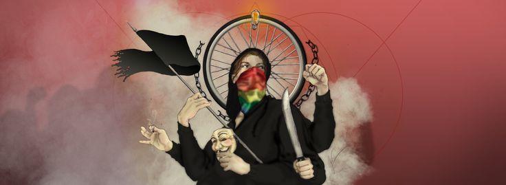 lustração de capa, com tema Movimentos Sociais, para a revista eletrônica Estopim Coletivo - ilustração em digital art por G. Pawlick - trabalho em grafite com pintura feita digitalmente