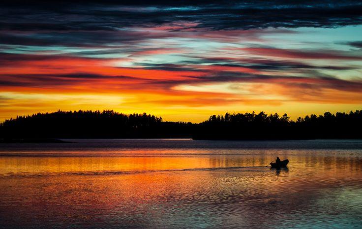 Perhaps the most beautiful sunset I've ever seen, Linnansaari National Park in Finland