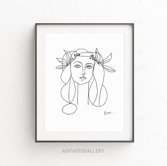 Picasso Girl Face of Peace - reproduction print inspired by Picasso's sketches