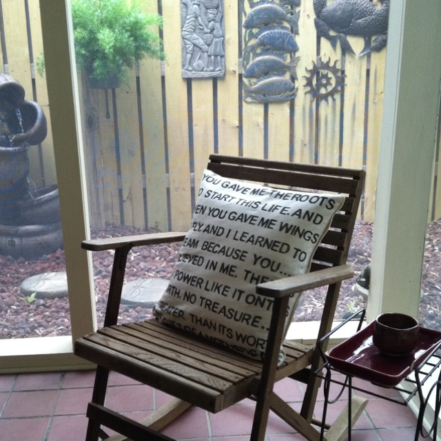 The pillow I made for Mom on her screened-in porch! Now working on one for Dad!