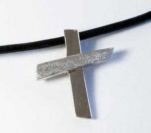 Silver cross necklace leather rope contemporary silver