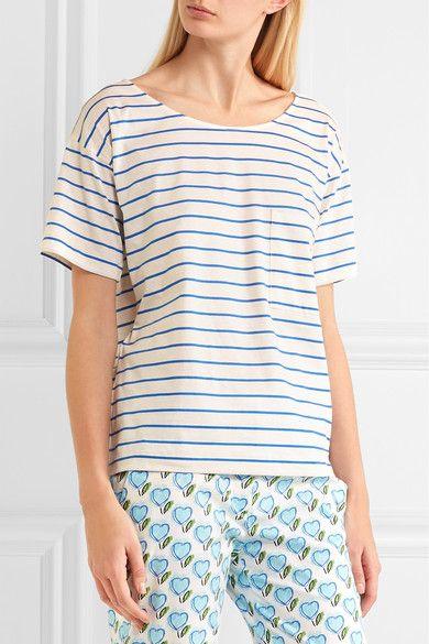 Prada - Striped Cotton-jersey T-shirt - Blue -