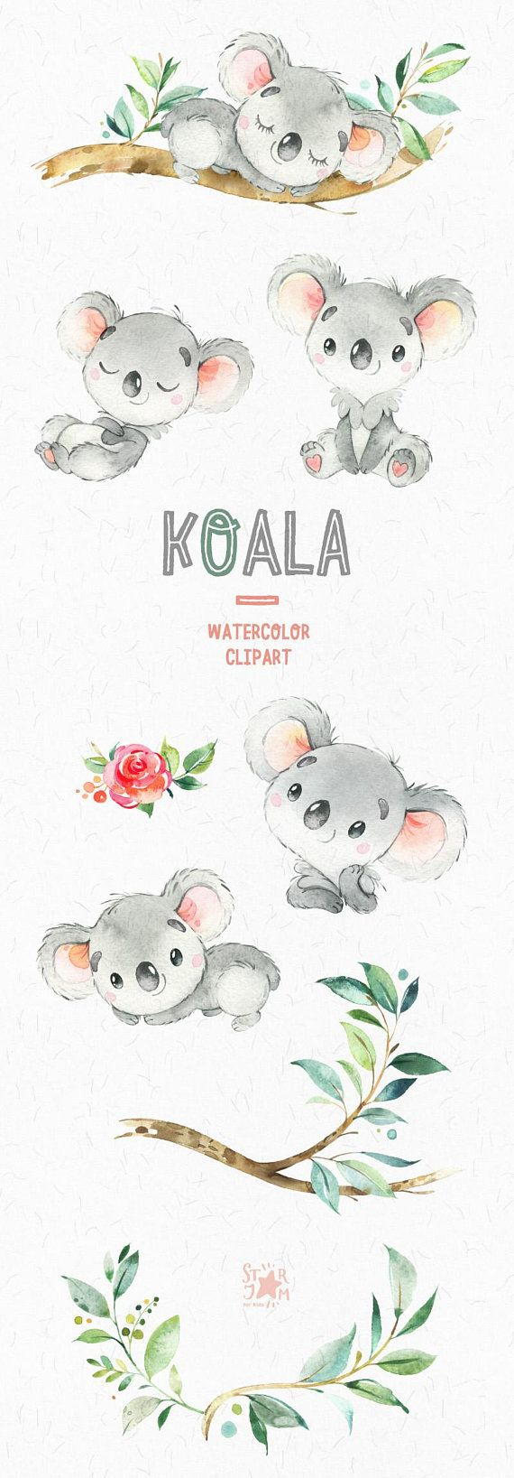 Koala. Little animals watercolor clipart, Australia, koala bear, watercolor, florals, flowers, babyshower, diy, kids, baby, cute, nursery