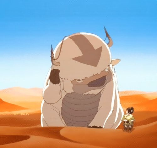 """""""What's up,"""" -Toph to Appa...lol Toph and Appa's conversations..i think i have pinned this 4 times"""
